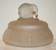 satin glass powder jar - elephant