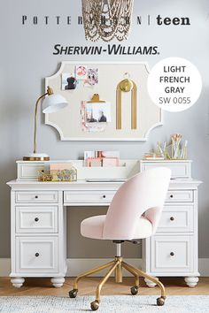 Add a splash of color to your space with our custom Sherwin-Williams paint palette and receive $15 off* your purchase of $75 or more. My New Room, My Room, Room Decor Bedroom, Girls Bedroom, Desk For Girls Room, Bedroom Ideas, White Room Decor, Unique Desks, Desk Storage