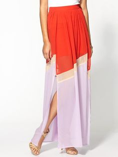Love this colorblocked maxi skirt.