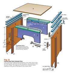 by Tom Caspar         Need more bench space? Who doesn't? Here's a terrific solution: a folding worktable that's both big and strong. And we mean strong.    You can set it up in only a minute and be ready for routing, sanding, planing—you name it. When you're done, fold up the table into a super-compact unit only five-inches thick and stow it away. Here today, tucked away …