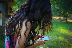 dark brown perfect curly hair