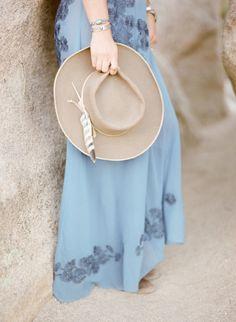 Boho tan hat: http://www.stylemepretty.com/2016/09/19/joshua-tree-engagement-session/ Photography: KT Merry - https://www.ktmerry.com/