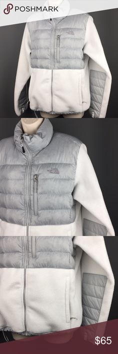 THE NORTH FACE Women's Large White Grey Jacket L ✨ Beautiful Women's Large North Fave Jacket in excellent condition! Very warm. Front looks like that at the grey part because of the feathers inside. Feel free to ask any questions! Fast Shipper ❤️ The North Face Jackets & Coats Puffers