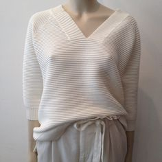 4ea972463d48a French Connection Rib Knit Jumper V-Neck Winter White €99 Drykorn Pleated  Trousers Velvet