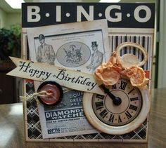 bingo card- this would be cute for nan Blank Bingo Cards, Craft Projects, Projects To Try, Bingo Board, Mixed Media Cards, Scrapbook Cards, Scrapbooking, Masculine Cards, Card Tags