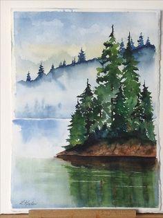 Watercolor Paintings For Beginners, Watercolor Projects, Watercolor Pictures, Watercolor Landscape Paintings, Watercolor Trees, Watercolor Techniques, Watercolour Painting, Landscape Art, Painting & Drawing