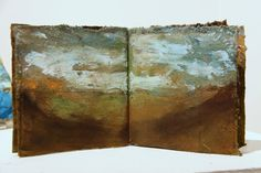 Green & Gold Landscape Book artist book sunset paintings by KKA12