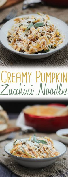 These Creamy Pumpkin Zucchini Noodles with Spiced Pumpkin Seeds are a delicious Gluten Free, Low Carb, Keto Zoodles Dinner that the whole family will love! Lamb Recipes, Gf Recipes, Low Carb Recipes, Real Food Recipes, Primal Recipes, Family Recipes, Clean Recipes, Vegetable Recipes, Snack Recipes