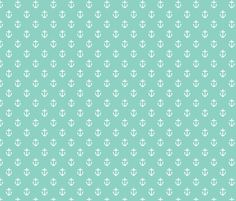 Aqua Anchors fabric by jenniferstuartdesign on Spoonflower - custom fabric