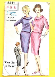 "Uncut Vogue 5246 ©1961 ""Very Easy to Make"" Two Piece Dress Easy fitting overblouse with bias roll collar Vintage Sewing Pattern Bust 36"
