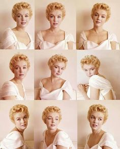 Marilyn Monroe. The graduation sitting. Montage of images by Milton Greene, 1956.