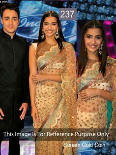 Bollywood Replica Sari Indian Designer Wedding Bridal Party Saree Bollywood actress golden dot Saree 14  OCCASIONS : Wedding, Party    SIZE :