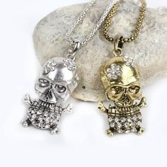 New Punk Skull Necklace Women Jewelry Antique Silver Plated Necklace Men Skull Crystal Pendants Long Necklaces SL Skull Necklace, Copper Necklace, Men Necklace, Fashion Necklace, Beaded Necklace, Fashion Jewelry, Women Jewelry, Pendant Necklace, Antique Silver