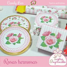 Kit de etiquetas de golosinas Shabby chic rosa, ideal para Candy bar de baby shower, día de la madre...