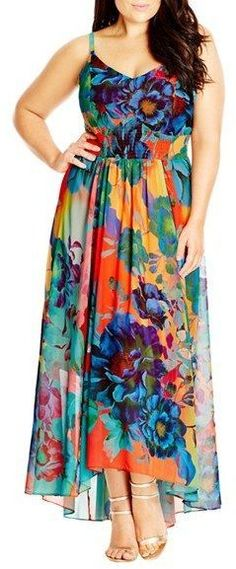7ea6cc69504 Plus Size Women s City Chic  Hot Summer Days  Print High low Maxi Dress. A  bold floral print styled with a decollete neckline