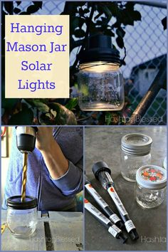 Easy DIY ~ Hanging Mason Jar Solar Lights ~ perfect for outdoor entertaining or poolside