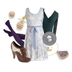 """Periwinkle Dress"" by modcloth on Polyvore; love the shoes in particular."