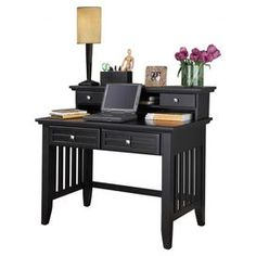 Arts and Crafts Writing Desk and Hutch in Black
