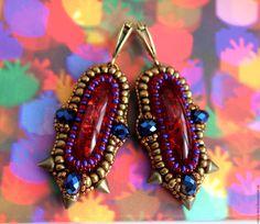 """Купить Серьги """"Пойманные звезды"""" - серьги, украшение, готика, красный, бронзовый, звезды, комплект"""