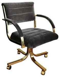Brass Desk Chair w/ Gray Velvet Fabric