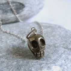 Tiny Skull Necklace, Pyrite Necklace, Sterling Silver, Stone Skull Pendant, Sugar Skull, Steampunk Jewelry