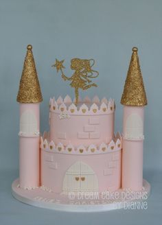 'ELLIE' ~ CHRISTENING CAKE .. Castle with gold glitter fairy and gold accents Naming Ceremony, Dream Cake, Baby Shower Gender Reveal, Gold Accents, Beautiful Cakes, Cake Designs, Gold Glitter, Christening, Celebrations