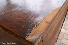peeling-veneer-dresser with chalk paint fix!