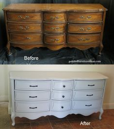 WOW! Before and after pictures of an antique dresser refinished in light gray with new black hardware