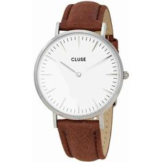 Cluse La Boheme White Dial Brown Leather Ladies Watch (€51) ❤ liked on Polyvore featuring jewelry, watches, brown leather wrist watch, bohemian watches, analog watches, analog wrist watch and boho watches