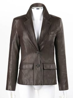 YVES SAINT LAURENT YSL Brown Leather Two Button Blazer Jacket | From a collection of rare vintage jackets at https://www.1stdibs.com/fashion/clothing/jackets/