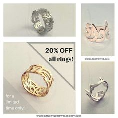 All rings are currently discounted at 20% off. This is your chance to get your personalized ring at a great price. No need for coupon codes, simply head to my etsy shop (link in bio) and check the Rings section; prices have already been discounted.