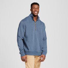 Men's Quarter Zip Fleece Pullover Sweater Big & Tall Navy (Blue) 2XB Tall - Merona