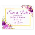 Elegant Chic Gold Purple Floral Save the Date Postcard #weddinginspiration #wedding #weddinginvitions #weddingideas #bride