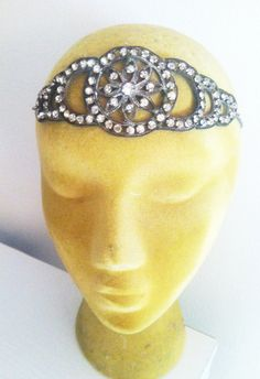 Antique Authentic 1920s Art Deco Floral Headpiece Vintage Bride Wedding Crown Rhinestone Paste Headband Bridal Flapper Nicole Richie