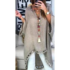 Women Boho Causal Tops V Neck Soild Half Sleeve Blouses - Trendy Outfits Look Fashion, Daily Fashion, Womens Fashion, Fashion Design, Fashion Trends, Fashion Styles, Fast Fashion, Fashion 2018, Ladies Fashion