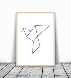 Geometric Bird Print Origami Print Dove Print Pigeon Art