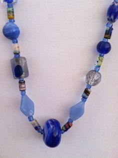 Mixed Blue Glass Necklace with Handmade Glass by TripIntoLight, $17.00