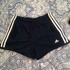 Navy blue Adidas gym shorts Have pockets on sides, short! Size small Adidas Shorts