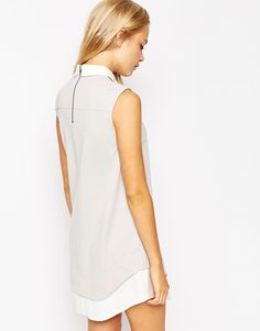 Image 2 ofASOS Shift Dress with Shirt Detail and Curved Hem