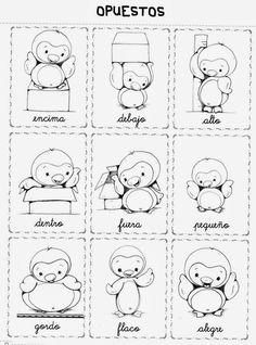 El profe y su clase de PT: Los opuestos o contrarios Singular And Plural, Kids English, Spanish Lessons, Story Time, Worksheets, Activities For Kids, Alphabet, Preschool, Diagram