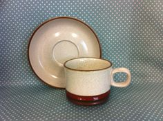 Vintage 1973 Denby Pottery Potters Wheel design large cup & saucer. Duo. Tea set. - FREE UK POST - 13.50 GBP