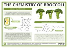 Broccoli, like other green vegetables, gets greener when you start cooking it. Why is this, and why does this green colour fade to a grey-green the longer it's cooked? This graphic looks at t…