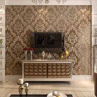 Luxo papel de parede clássico papel de parede do damasco com diamante brilhante acabamento de alta formação de espuma para parede 3d