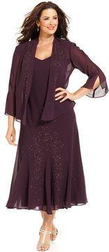 R&M Richards Plus Size Beaded V-Neck Dress and Jacket on shopstyle.com