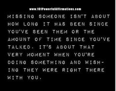 On missing someone