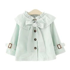 Baby Girl Bowknot Windbreaker Jacket Kids Outwear With Ruffle Neck Green 90 Kids Clothes Patterns, Baby Dress Patterns, Little Girl Fashion, Kids Fashion, Fashion Coat, Winter Fashion, Style Fashion, Dresses Kids Girl, Kids Outfits