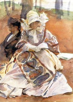 Young Woman Reading with a Man John Singer Sargent 1909-1911