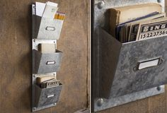 Galvanized Wall Pocket Organizer  - From Antiquefarmhouse.com - http://www.antiquefarmhouse.com/current-sale-events/accent39/galvanized-wall-pocket-organizer.html