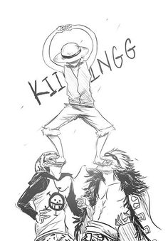 Monkey D. Luffy , Trafalgar Law and Eustass Kid #one piece