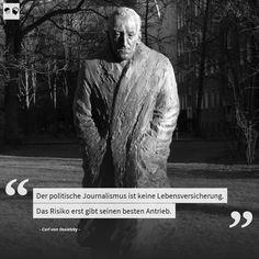 """Heute vor 85 Jahren wurde Carl von Ossietzky (1889-1938) zusammen mit anderen kritischen Intellektuellen aus Anlass des Reichstagsbrands verhaftet. Der Journalist und Herausgeber der Weltbühne Ossietzky war eine Art früher Whistleblower und betrieb investigativen Journalismus, der den Mächtigen in Politik und Militär als zu gefährlich erschien. """"Der politische Journalismus ist keine Lebensversicherung: das Risiko erst gibt seinen besten Antrieb."""" #wednesdaywisdom #zitate #quotes #sprüche"""